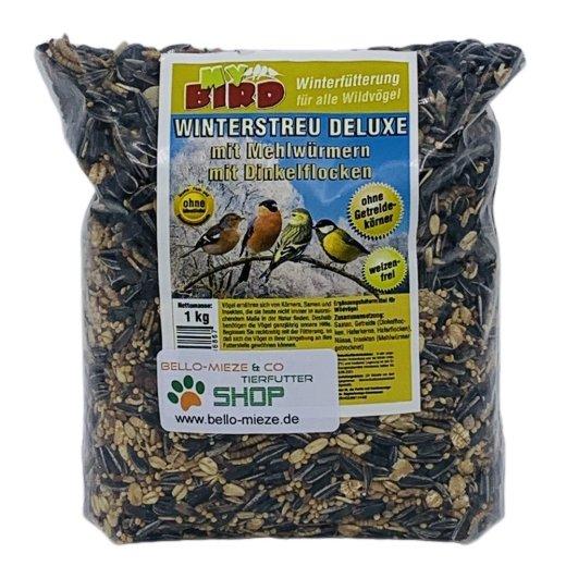 Wildvogel Winterstreu Deluxe mit Mehlwürmern   Winterfutter   ohne Weizen
