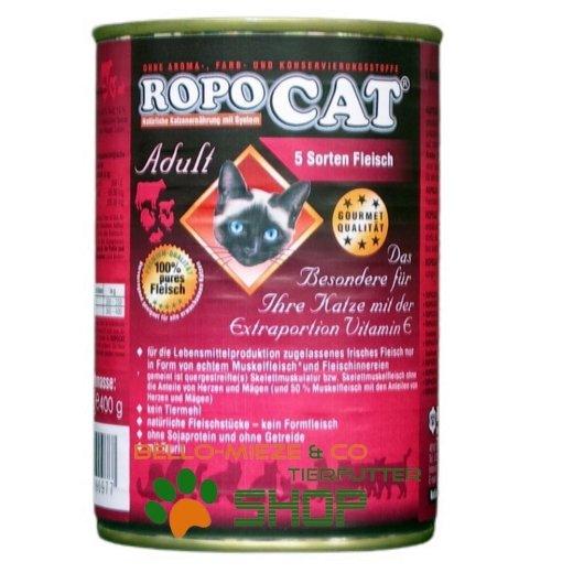 RopoCat Adult 5 Sorten Fleisch   Katzenfutter - Katzen Nassfutter - Dosenfutter mit Taurin