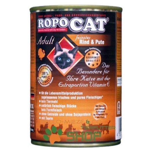 RopoCat Adult Rind & Pute | Katzenfutter - Katzen Nassfutter - Dosenfutter mit Taurin