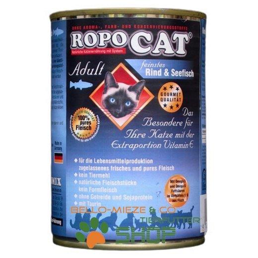 RopoCat Adult Rind & Seefisch   Katzenfutter - Katzen Nassfutter - Dosenfutter mit Taurin