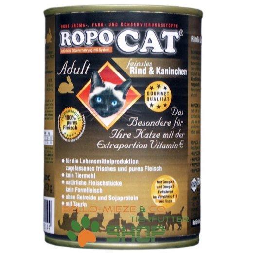RopoCat Adult Rind & Kaninchen   Katzenfutter - Katzen Nassfutter - Dosenfutter mit Taurin