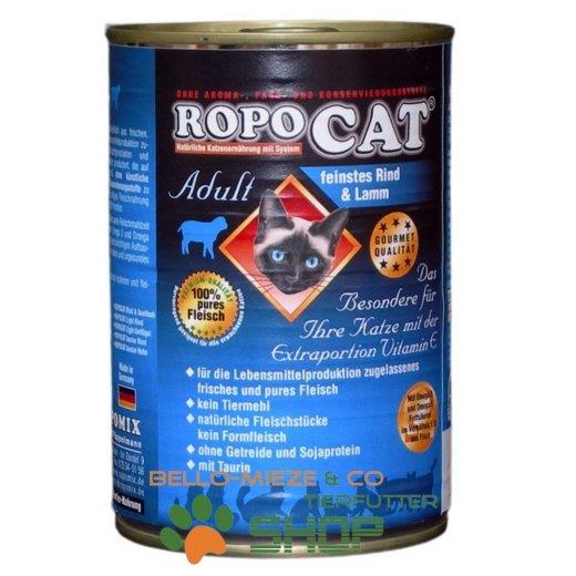 RopoCat Adult Rind & Lamm   Katzenfutter - Katzen Nassfutter - Dosenfutter mit Taurin