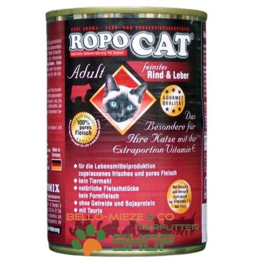 RopoCat Adult Rind & Leber   Katzenfutter - Katzen Nassfutter - Dosenfutter mit Taurin