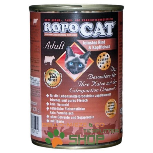 RopoCat Adult Rind & Kopffleisch   Katzenfutter - Katzen Nassfutter - Dosenfutter mit Taurin