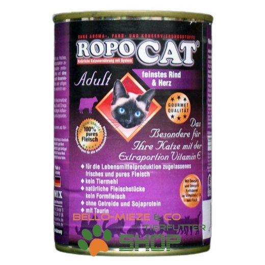 RopoCat Adult Rind & Herz | Katzen Nassfutter - Dosenfutter mit Taurin