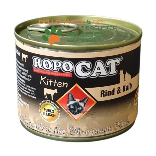 RopoCat Kitten Rind & Kalb | Katzenfutter - Katzen Nassfutter - Dosenfutter mit Taurin