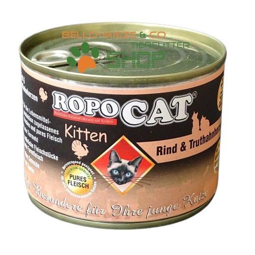 RopoCat Kitten Rind & Truthahnherzen | Katzenfutter - Katzen Nassfutter - Dosenfutter mit Taurin