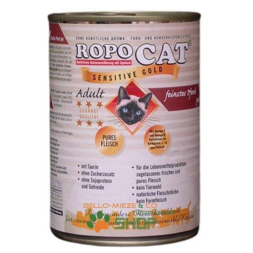 RopoCat Adult Sensitive Gold Pferd pur 24 Dosen à 200 gr.