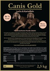 Canis Gold Probierset 4 x 1000 gr Adult Sorten Lamm   Kaninchen   Huhn und Lachs mit Kartoffel