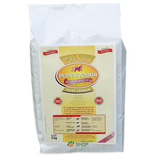Caldor Puppy + Junior Medium mit 30 % Rind & Reis-Mais