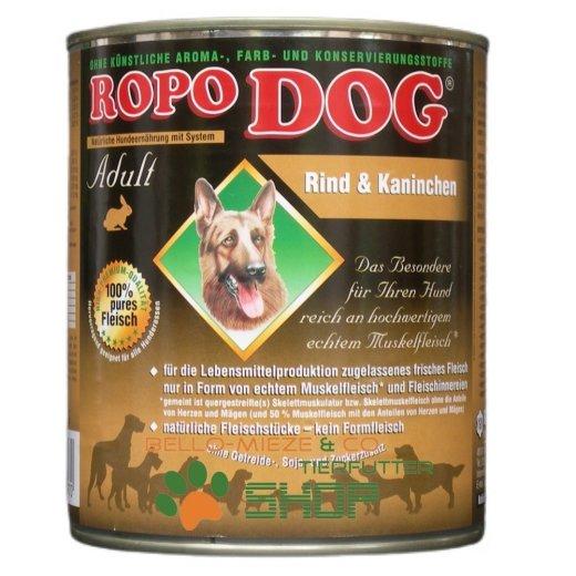 RopoDog Adult Rind & Kaninchen - 100% Fleisch 30 Dosen à 800 gr