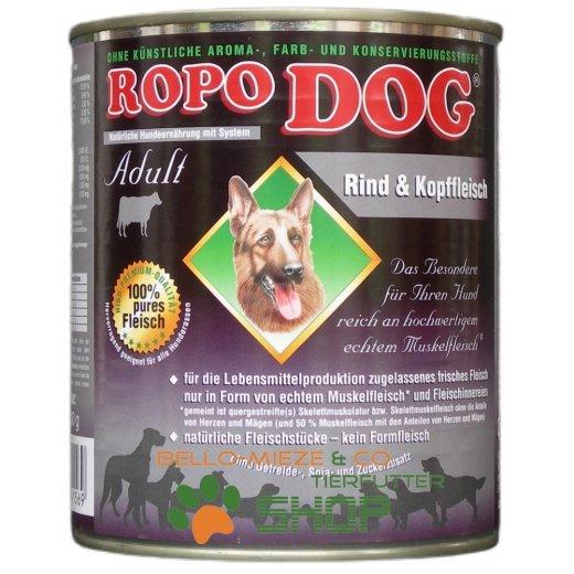 RopoDog Adult Rind & Kopffleisch - 100% Fleisch