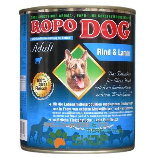 RopoDog Adult Rind & Lamm - 100% Fleisch 12 Dosen à 800 gr.