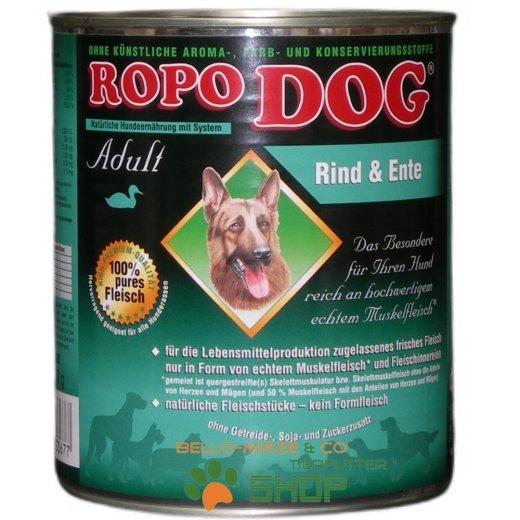 RopoDog Adult Rind & Ente - 100% Fleisch 12 Dosen à 800 gr.