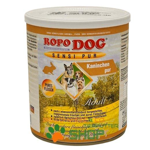 RopoDog Adult Sensi Pur Kaninchen - pures Fleisch 12 Dosen à 800 gr