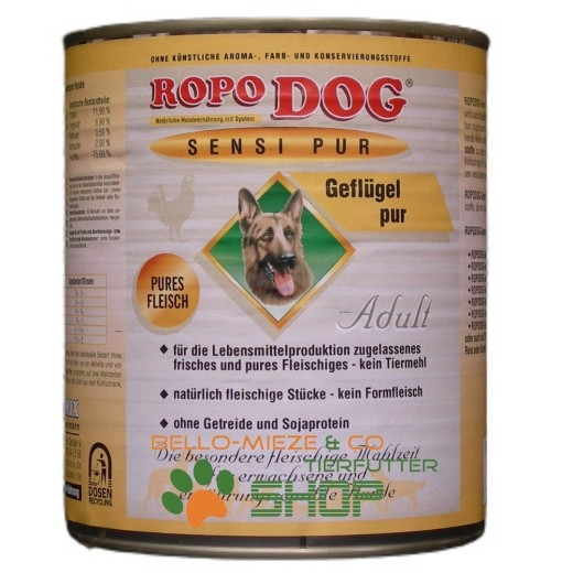 RopoDog Adult Sensi Pur Geflügel - pures Fleisch 30 Dosen à 800 gr.