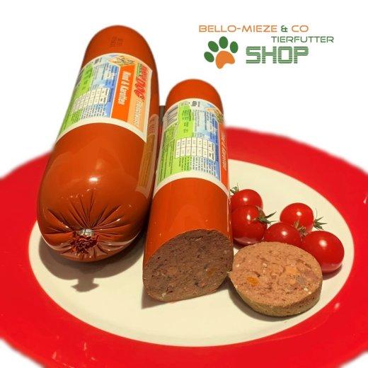 RopoDog Hunde Fleischwurst Rind + Karotten | Alleinfuttermittel
